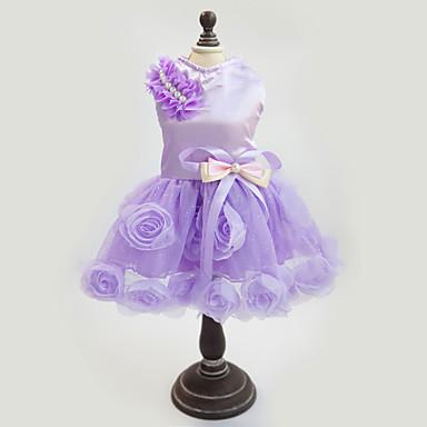 povoljno Odjeća za psa i dodaci-Pas Haljine Odjeća za psa purpurna boja Pink Kostim Tekstil Cvjetni / Botanički Moda Novogodišnji XS S M L XL