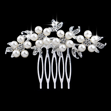 olcso Hajékszerek-Női Elegáns és luxus Kristály Gyöngyutánzat Hamis gyémánt Fésűk Esküvő Parti