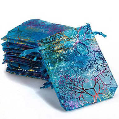 olcso Táskák és dobozok-10db színes húzózsinór korall virág cukorka ajándék táska ékszer tasak 9x12cm