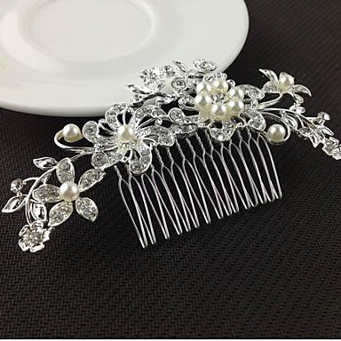 نسائي زهري أنيق & فاخم كريستال لؤلؤ تقليدي تقليد الماس أغطية الرأس أمشاط للشعر زفاف مناسب للحفلات