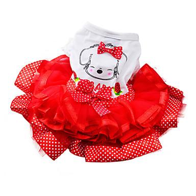 povoljno Odjeća za psa i dodaci-Pas Haljine Odjeća za psa Bijela Zelen Crvena Kostim Pamuk Na točkice Mašna Moda XS S M L XL XXL