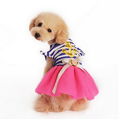 رخيصةأون ملابس وإكسسوارات الكلاب-قط كلب الفساتين ملابس الكلاب أصفر زهري كوستيوم تيريليني قطن مخطط ببيونة عطلة موضة XS S L XL