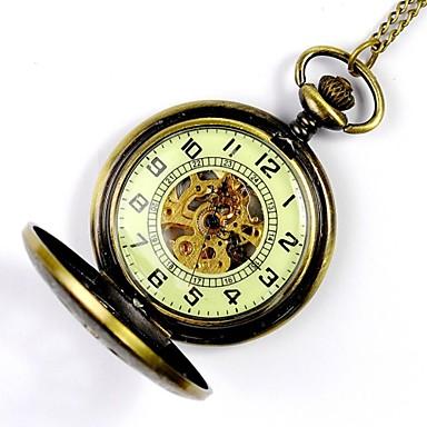 رخيصةأون ساعات الرجال-رجالي ساعة الهيكل ساعة جيب ووتش الميكانيكية داخل الساعة أتوماتيك ذهبي نقش جوفاء مماثل سحر Steampunk
