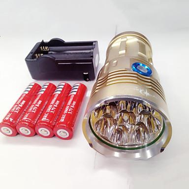 olcso Búvárlámpa-LED zseblámpák Vízálló Újratölthető 9600lm LED LED 8 Sugárzók 3 világítás mód akkukkal és töltővel Vízálló Újratölthető Night vision Kempingezés / Túrázás / Barlangászat Mindennapokra Rendőr