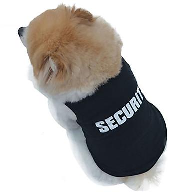 رخيصةأون ملابس وإكسسوارات الكلاب-قط كلب T-skjorte ملابس الكلاب أسود كوستيوم قطن Police / Military الكوسبلاي الزفاف موضة XS S M L XL XXL