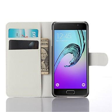 baratos Capinhas para Galaxy Série A-Capinha Para Samsung Galaxy A3(2016) Porta-Cartão / Com Suporte / Flip Capa Proteção Completa Côr Sólida PU Leather