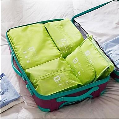 billige Reisevesker-5 sett Reiseveske Pakkeorganiserer Bærbar til Bagasje ReiseoppbevaringGrå Grønn Blå Rosa