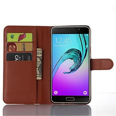 voordelige Galaxy A-serie hoesjes / covers-hoesje Voor Samsung Galaxy A9 Kaarthouder / met standaard / Flip Volledig hoesje Effen Kleur PU-nahka