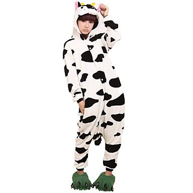 Adulți Pijama Kigurumi Lapte de Vacă Animal Pijama Întreagă Flanel Lână Negru / Alb Cosplay Pentru Bărbați și femei Sleepwear Pentru Animale Desen animat Festival / Sărbătoare Costume