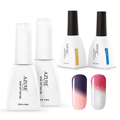 azur 4 pi ces lot gel vernis ongles cam l on changement de temp rature de couleur uv gel