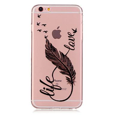 Недорогие Кейсы для iPhone 6 Plus-Кейс для Назначение Apple iPhone 6s Plus / iPhone 6s / iPhone 6 Plus Прозрачный / С узором Кейс на заднюю панель Перья Мягкий ТПУ