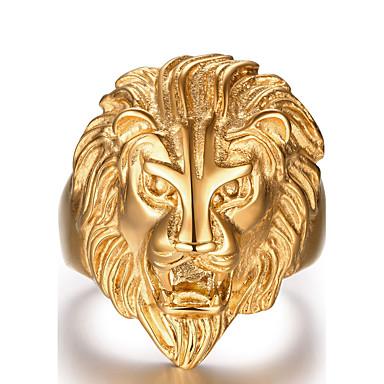 رخيصةأون خواتم-رجالي خاتم ذهبي معدني هدايا عيد الميلاد الهالووين مجوهرات أسد حيوان