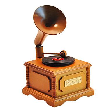 olcso zenegép-faipari sárga / barna kreatív romantikus zene doboz ajándék