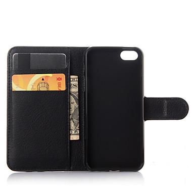 رخيصةأون أغطية أيفون-غطاء من أجل iPhone 7 / iPhone 7 Plus / أيفون 5 iPhone 7 Plus / iPhone 7 / iPhone SE / 5s محفظة / حامل البطاقات / مع حامل غطاء كامل للجسم لون سادة قاسي جلد PU