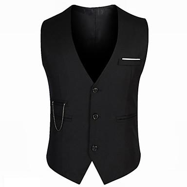 رجالي أسود XL XXL XXXL Vest لون سادة V رقبة نحيل / بدون كم / عمل
