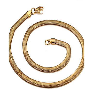 Недорогие Ожерелья-Муж. Жен. Ожерелья-бархатки Змея На каждый день Мода Титановая сталь Золото 18K Золотой Ожерелье Бижутерия Назначение Повседневные