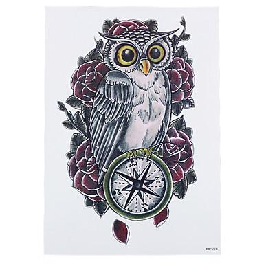 8szt Słodkie Kompas Sowa Róży Kwiat Styl Transferu Wody Farby Tatuaż