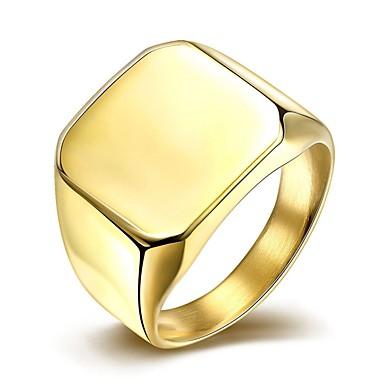 ieftine Inele-Bărbați Band Ring Inel sigiliu Auriu Argintiu Oțel titan Placat Auriu stil minimalist Modă Cadouri de Crăciun Nuntă Bijuterii
