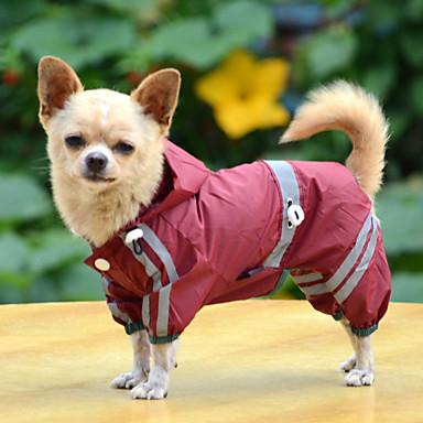 رخيصةأون ملابس وإكسسوارات الكلاب-كلب معطف المطر معطف واق من المطر ملابس الكلاب أصفر أخضر أحمر كوستيوم طفل كلب صغير كلب البلدغ شبعا اينو كلب البج الاكريليك وألياف لون سادة مقاومة الماء ضد الرياح XS S M L XL XXL