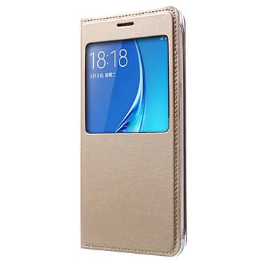 voordelige Galaxy J-serie hoesjes / covers-hoesje Voor Samsung Galaxy J7 (2016) / J7 / J5 (2016) met venster / Flip Volledig hoesje Effen Hard PU-nahka