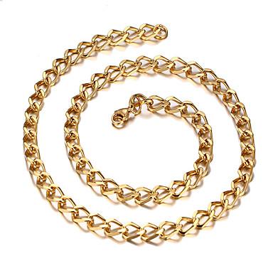 Недорогие Ожерелья-Муж. Жен. Ожерелья-бархатки На каждый день европейский Мода Титановая сталь Золотой Ожерелье Бижутерия Назначение Повседневные