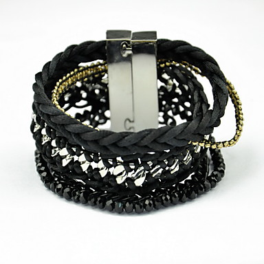 ieftine Brățări-Pentru femei Brățări cu Talismane Bratari Wrap Ciucure Boem Modă Material Textil Bijuterii brățară Negru Pentru Zilnic Casual