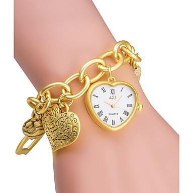 رخيصةأون ساعات الرجال-ASJ نسائي ساعات فاشن ساعه اسورة ساعة ذهبية ياباني كوارتز كوارتز ياباني فضة / ذهبي 30 m / مماثل سيدات Heart Shape - فضي ذهبي