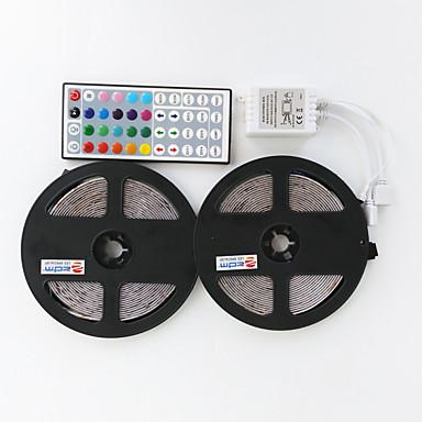 ieftine Benzi De Lumini LED-Seturi de lumini impermeabile zdm 2x5m 2 * 300 leduri 2835 smd 8mm 44keys 1bin2 ir telecomandă rgb cuttable autoadezivă bandă de lumină moale dc12v