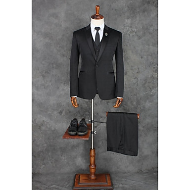 cheap Tuxedos & Suits-Black Solid Colored Tailored Fit Polyester Suit - Peak Single Breasted One-button / Suits
