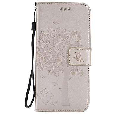 Недорогие Чехлы и кейсы для Galaxy S4 Mini-Кейс для Назначение SSamsung Galaxy S7 edge / S7 / S6 edge plus Кошелек / Бумажник для карт / со стендом Чехол дерево Мягкий Кожа PU