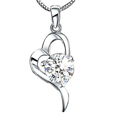 Womens heart shape love heart pendant necklace sterling silver womens heart shape love heart pendant necklace sterling silver crystal silver pendant necklace wedding birthday thank you daily casual 4334065 2018 179 mozeypictures Images