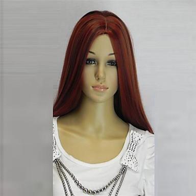Peruci Sintetice Ondulat Ondulat Perucă Lung Roșu Închis Păr Sintetic 28 inch Pentru femei Partea Mijlocie Roșu hairjoy