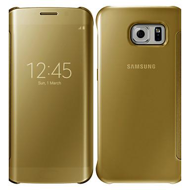 Недорогие Чехлы и кейсы для Galaxy S6 Edge-Кейс для Назначение SSamsung Galaxy S6 edge plus / S6 edge / S6 Зеркальная поверхность / Флип Чехол Однотонный ПК
