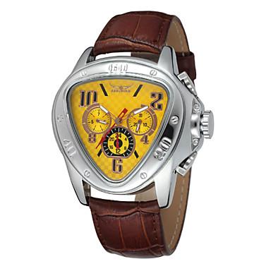 رخيصةأون ساعات الرجال-WINNER رجالي ساعة المعصم ووتش الميكانيكية داخل الساعة أتوماتيك جلد أسود رزنامه مماثل ترف - أسود أصفر أحمر / ستانلس ستيل