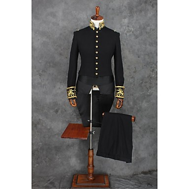 cheap Tuxedos & Suits-Black Solid Colored Standard Fit Polyester Suit - Mandarin Collar Single Breasted More-Button / Suits