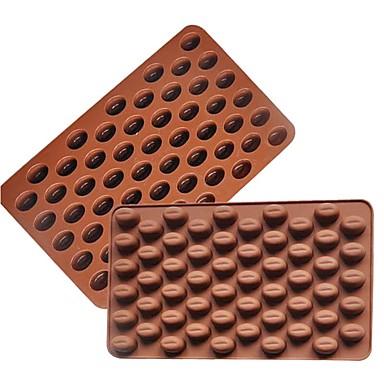 رخيصةأون أدوات الفرن-حبوب القهوة 3D 55 تجويف القهوة الفول شكل الشوكولاته العفن سيليكون قالب الشوكولاتة