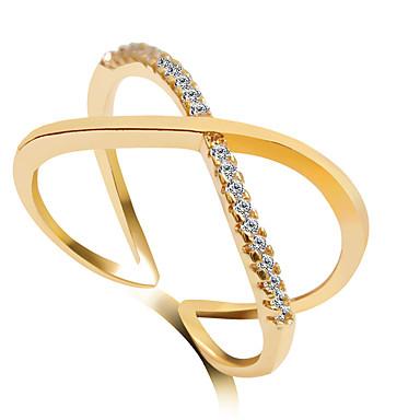 رخيصةأون خواتم-نسائي عصابة الفرقة خاتم البيان فضي ذهبي الذهب-وردي سبيكة زفاف مناسب للحفلات مجوهرات عبور