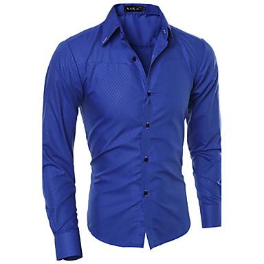 رخيصةأون قمصان رجالي-رجالي عمل الأعمال التجارية أساسي قميص, لون سادة ياقة كلاسيكية نحيل / كم طويل / الربيع / الخريف