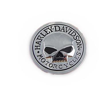 ملصق جمجمة شخصية هارلي للسيارات ، هيكل عظمي معدني معجون 60 * 60 ملم