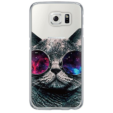 voordelige Galaxy S-serie hoesjes / covers-hoesje Voor Samsung Galaxy S7 edge / S7 / S6 edge plus Ultradun / Doorzichtig Achterkant Kat Zacht TPU