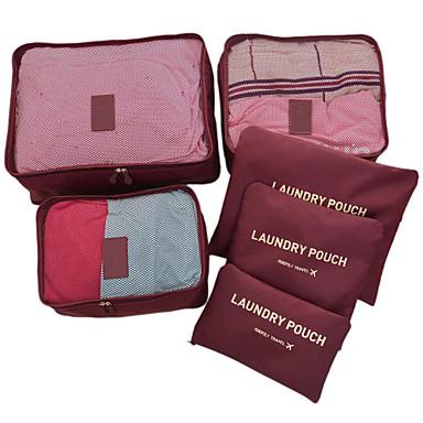 billige Rejsetasker-6 sæt Rejsetaske / Rejsearrangør / Rejsebagageorganisator Stor kapacitet / Vandtæt / Ultra Lys (UL) Ikke-strikket Stof Rejse / Holdbar