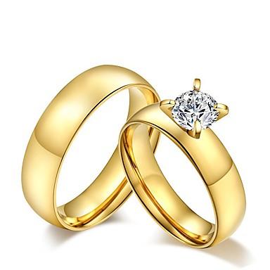 voordelige Fijne Sieraden-Unisex Ringen voor stelletjes Bandring Diamant Kubieke Zirkonia moissanite Gouden Kubieke Zirkonia Titanium Staal Dames Tupsu Vintage Bruiloft Feest Sieraden patiencespel Rond