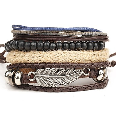 cheap Men's Bracelets-Men's Wrap Bracelet Leather Bracelet Layered Rope Wings Personalized Punk Multi Layer Leather Bracelet Jewelry Brown For Christmas Gifts Daily Casual Beach