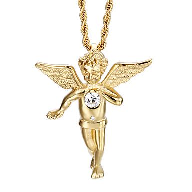 Недорогие Ожерелья-Муж. Ожерелья с подвесками Мода Позолота 18К Нержавеющая сталь Позолота Золотой Ожерелье Бижутерия Назначение Повседневные