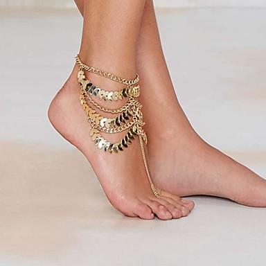 ieftine Bijuterii de Corp-Brățară Gleznă Sandale Desculț Declarație femei Design Unic Pentru femei Bijuterii de corp Pentru Petrecere Zilnic Multistratificat Franjuri stivuibil Placat Auriu Aur Alb Aliaj Auriu 1 buc
