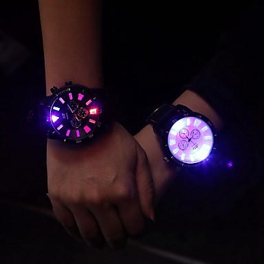 Недорогие Часы на кожаном ремешке-Муж. Жен. Универсальные Модные часы Наручные часы Кварцевый На каждый день Светящийся Стеганная ПУ кожа Черный Аналоговый - Белый Черный / LED