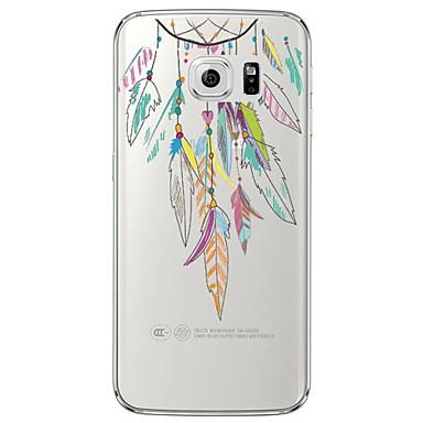 voordelige Galaxy S6 Edge Hoesjes / covers-hoesje Voor Samsung Galaxy S7 edge / S7 / S6 edge plus Transparant / Patroon Achterkant Veren Zacht TPU