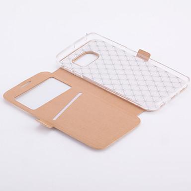 رخيصةأون حافظات / جرابات هواتف جالكسي S-غطاء من أجل Samsung Galaxy S8 Plus / S8 / S7 edge حامل البطاقات / مع حامل / مع نافذة غطاء كامل للجسم نموذج هندسي جلد PU
