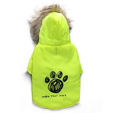 رخيصةأون ملابس وإكسسوارات الكلاب-قط كلب المعاطف هوديس ملابس الكلاب الأزهار / النباتية أخضر قطن كوستيوم من أجل الشتاء رجالي نسائي الدفء