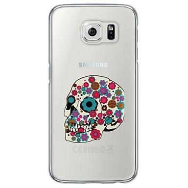 voordelige Galaxy S-serie hoesjes / covers-hoesje Voor Samsung Galaxy S7 edge / S7 / S6 edge plus Ultradun / Doorzichtig Achterkant Doodskoppen Zacht TPU